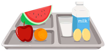 food tray: Healthy food on tray illustration Illustration