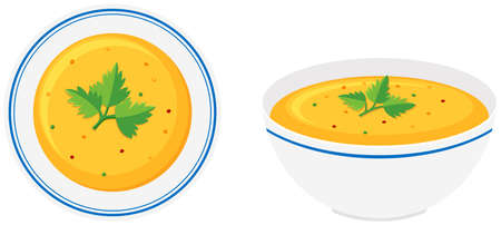 Pumpkin soup in bowl illustration