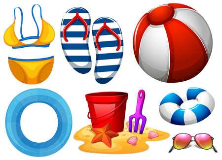 beachwear: Beachwear and other beach toys illustration