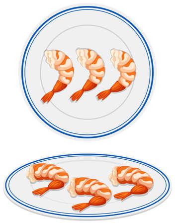 protein food: Cooked shrimps on plates illustration Illustration