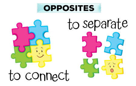 art piece: Opposite wordcard with connect and separate illustration