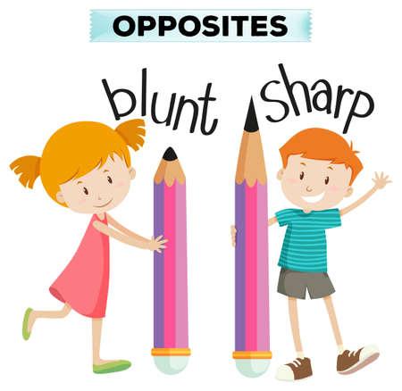 sharp: Opposite words for blunt and sharp illustration Illustration