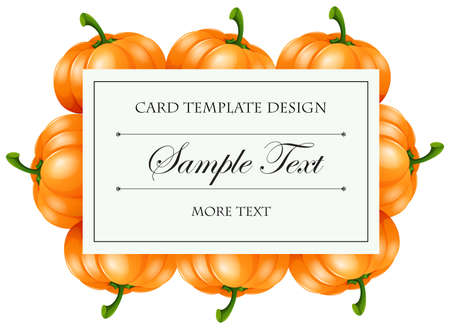 picture card: Card template with pumpkin frame illustration Illustration