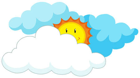 Happy sun behind the clouds illustration