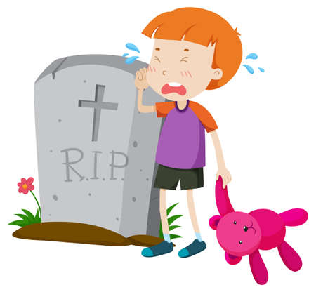 Boy crying in tears at gravestone illustration
