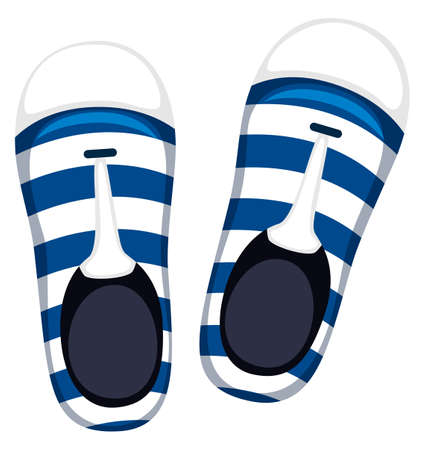beachwear: Pair of shoes with blue stripes illustration Illustration