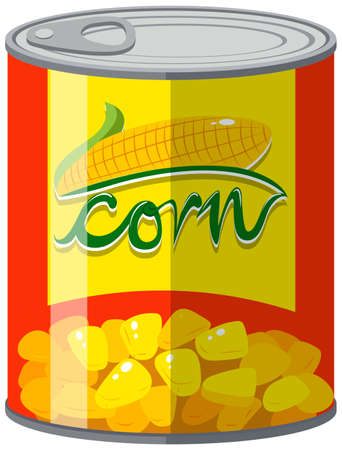 tin packaging: Sweet corn in aluminum can illustration