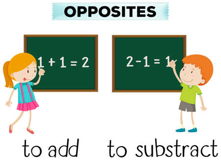 subtract: Opposite words for add and subtract illustration