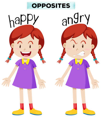 Opposite wordcard for happy and angry illustration Vectores