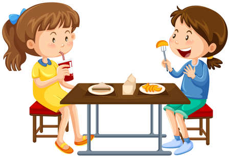 canteen: Two girls eating on picnic table illustration