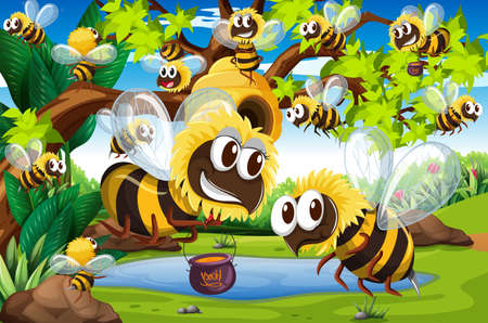 garden pond: Many bees flying around beehive in garden illustration