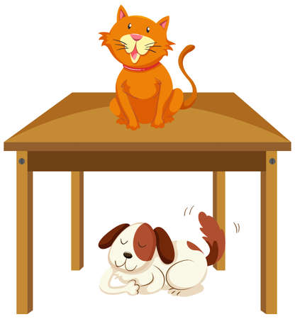 Cat on the table and dog under the table illustration