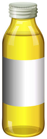 color in: Yellow color in glass bottle illustration