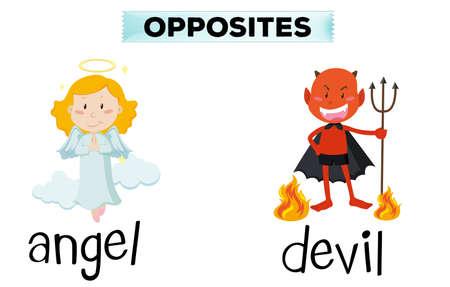 opposite: Opposite words for angel and devil illustration