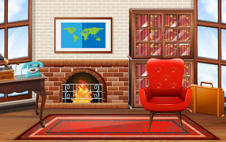 book: Room with fireplace and bookshelves illustration