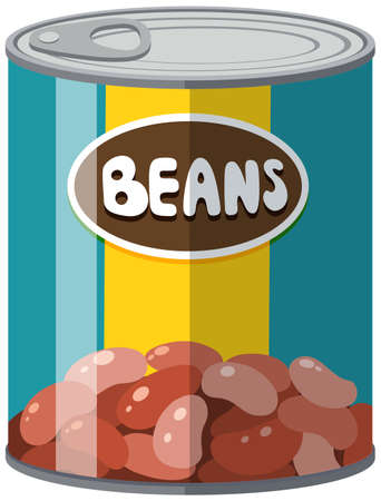 Beans in aluminum can illustration