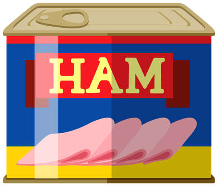Ham in square can illustration