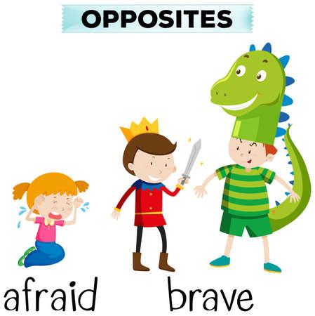 opposite: Opposite words for afraid and brave illustration