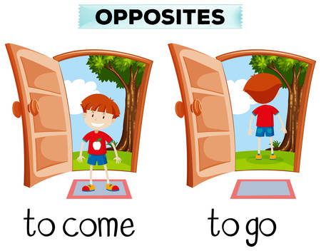 go out: Opposite words for come and go illustration