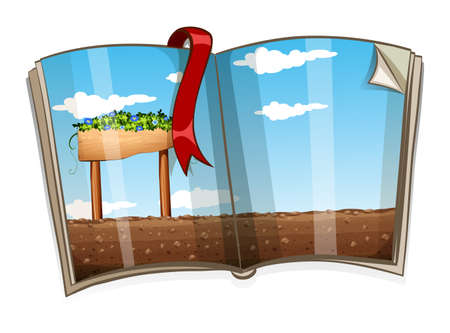 book: Book with farm scene at daytime illustration