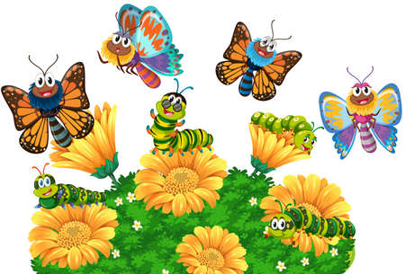 exotic flowers: Caterpillars and butterflies in the garden illustration Illustration