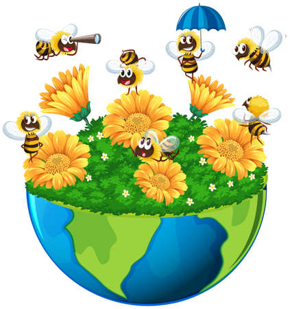 Bees flying in the garden on earth illustration