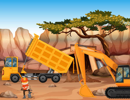 mine site: Bulldozer and dumping truck at the field illustration