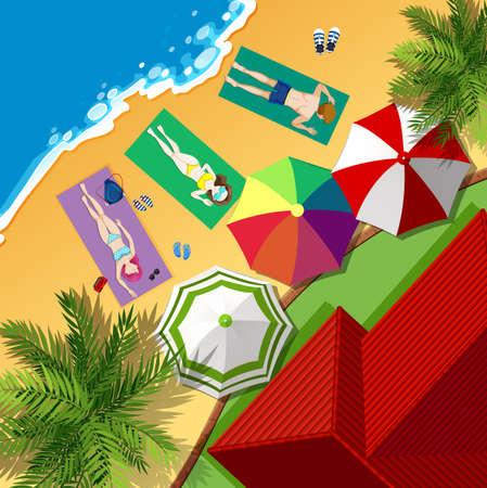 Beach scene with people sunbathing illustration Illustration