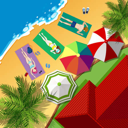 Strand-Szene mit Menschen Sonnenbaden Illustration Illustration