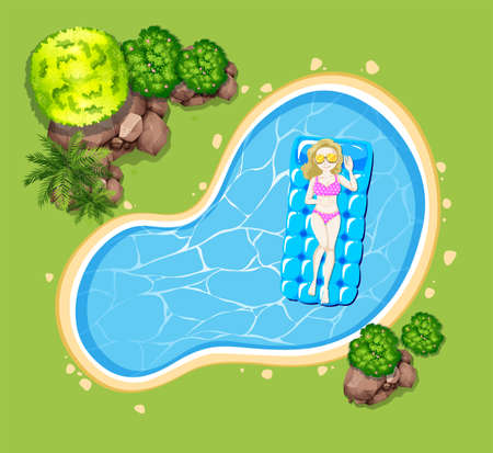 garden pond: Woman on floating raft in the pool illustration Illustration