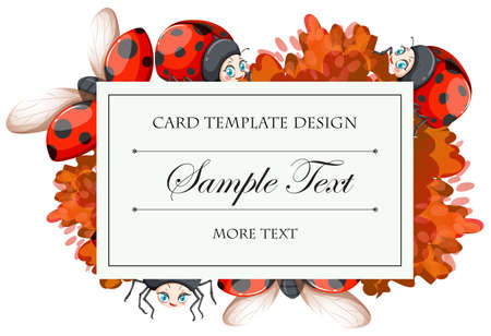 picture card: Card template with ladybugs  illustration