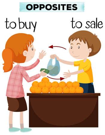 Opposite words for buy and sale illustration Illustration