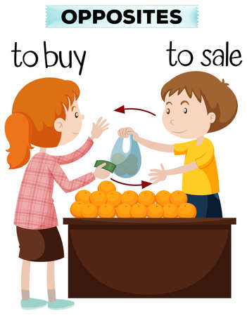 Opposite words for buy and sale illustration Ilustração