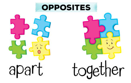 Opposite words for apart and together illustration