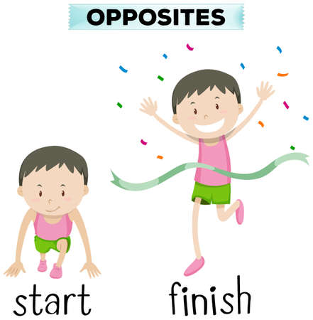 Opposite words for start and finish illustration