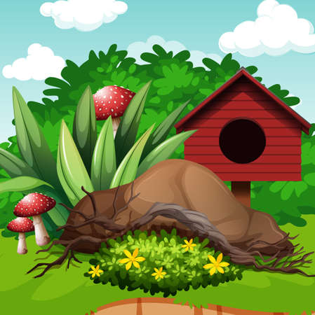 garden scenery: Garden scene with birdhouse and mushroom illustration