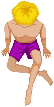 Mann in lila Schwimmen Shorts Illustration