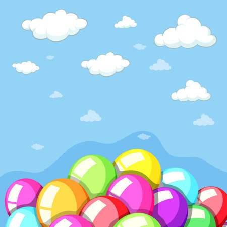 Sky background with colorful balloons illustration
