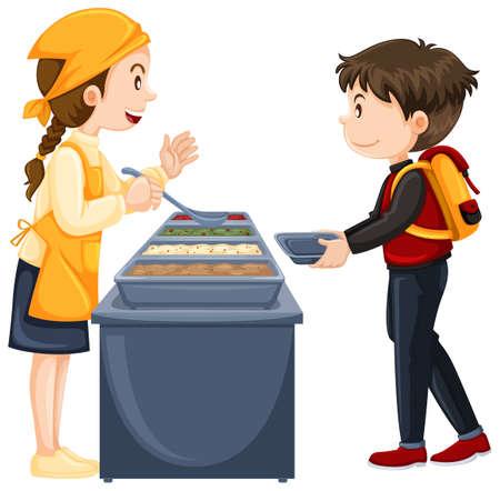 comedor escolar: Niño conseguir comida en la cantina de la ilustración Vectores
