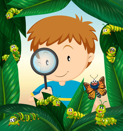 observing: Boy observing insect life on the leaves illustration