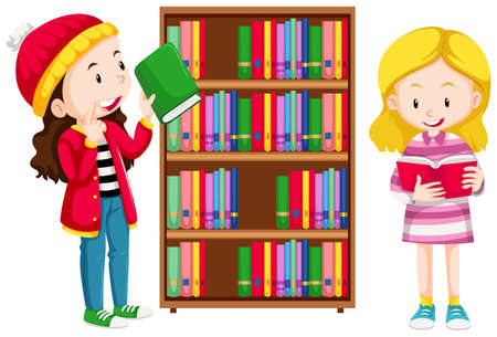adolescent girl: Two girls in the library illustration