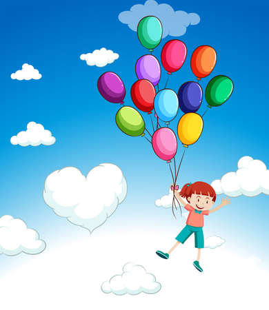 plaything: Girl flying with balloons in the sky illustration