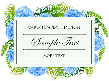 Card template with blue flowers frame illustration