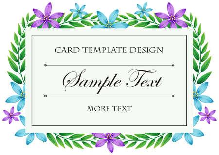 flores moradas: Modelo de la tarjeta con flores azules y púrpuras marco de la ilustración