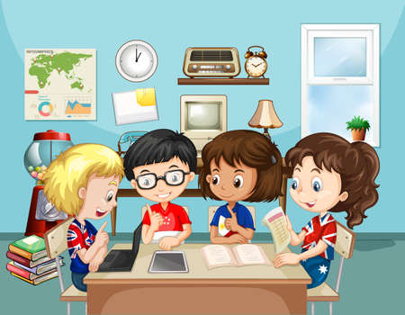 niños estudiando: Los niños que estudian en la ilustración aula