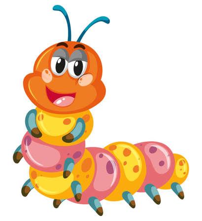 gusanos: Colorido oruga sonriente sobre fondo blanco ilustración Vectores