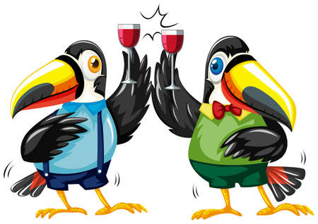 Two toucan birds with wine glasses illustration Illustration