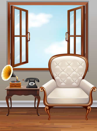 vintage phone: Room with white  armchair and vintage phone illustration