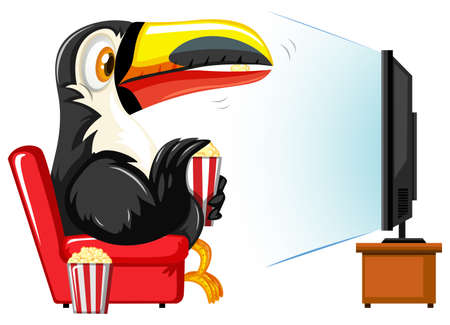 watching television: Toucan watching television on red sofa illustration Illustration