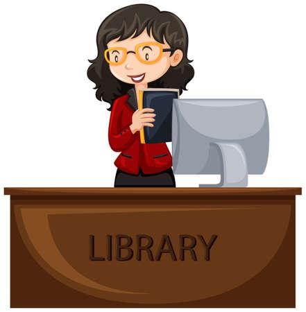 travail bibliothécaire à la réception illustration